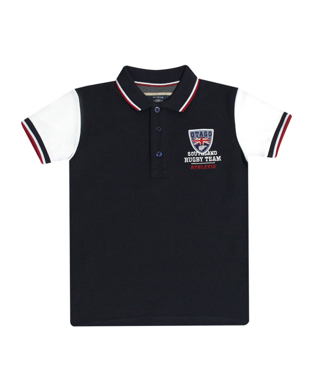 Polo mc Cabourg enfant marine manches blanches Otago rugby
