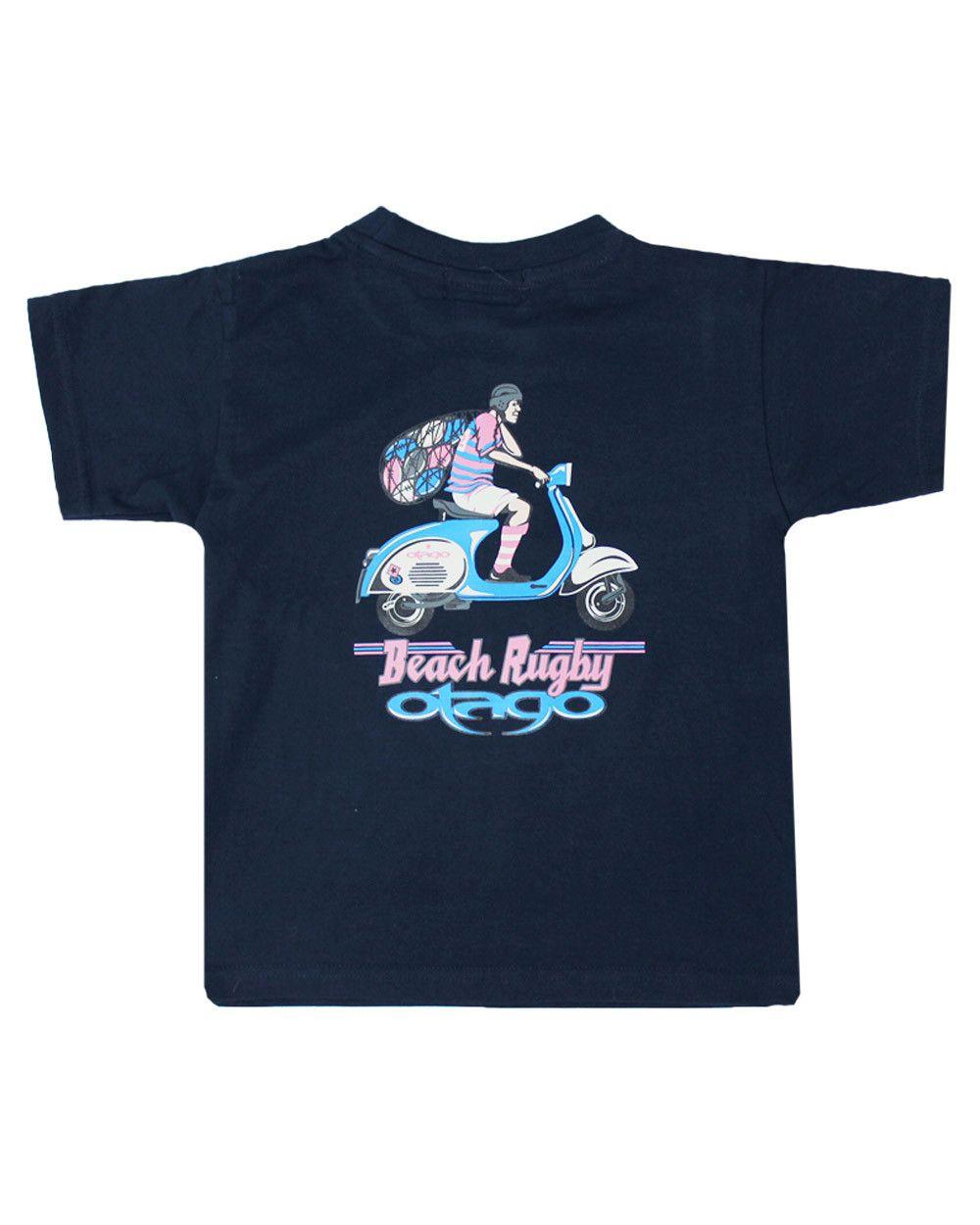 T-shirt Vespa Otago rugby enfant col rond marine