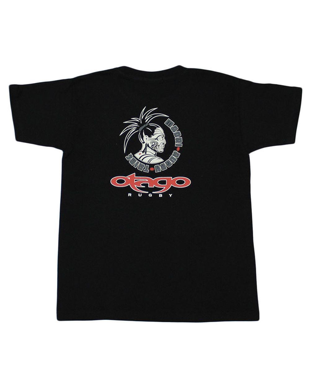 T-shirt Taranaki Otago rugby enfant col rond noir