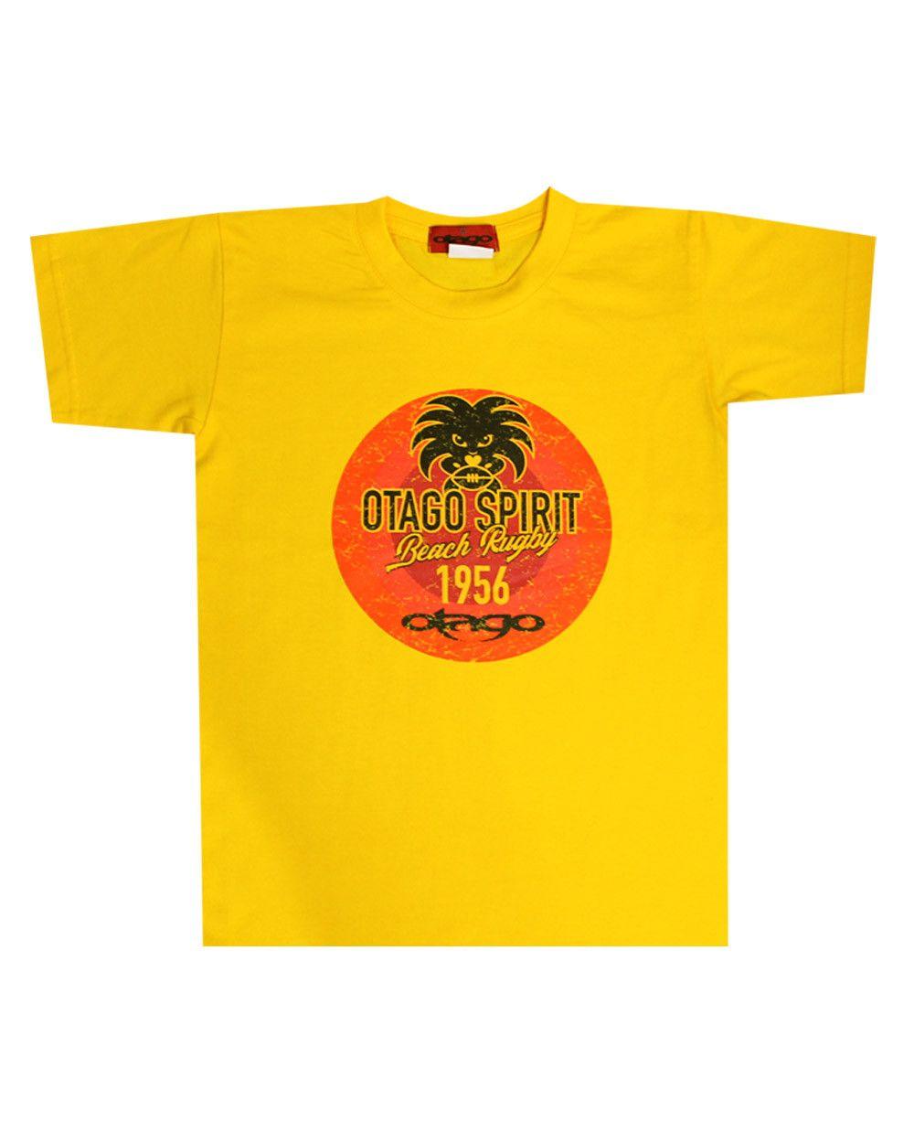 T-shirt Tikibeach Otago rugby enfant col rond jaune