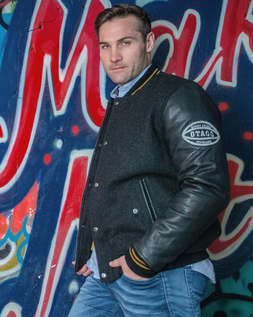 Veste cuir Otago rugby noire homme