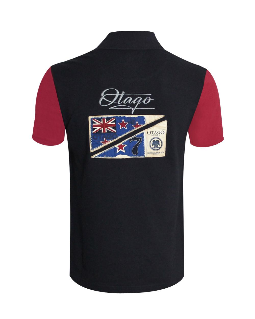 Polo Divota Otago rugby marine manches courtes bordeaux homme