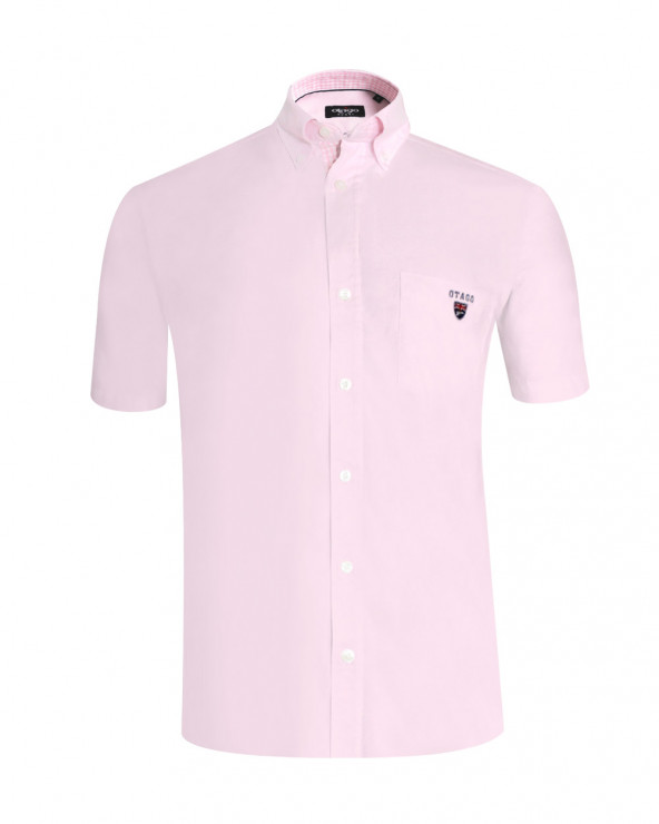 Chemise manches courtes Griff Oxford Otago rose homme