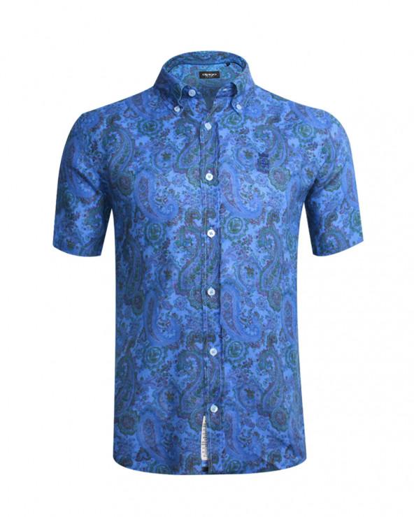 Chemise Roquebrune manches courtes imprimé bleu homme