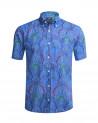 Chemise Turriers manches courtes imprimé bleu homme