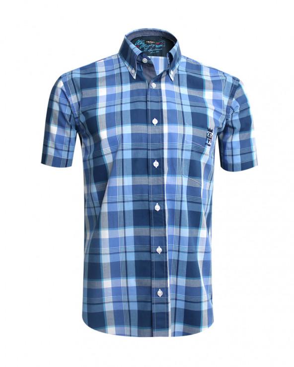 Chemise Hampton Otago à carreaux bleu homme