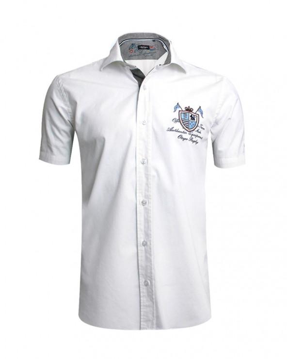 Chemise manches courtes Victor Otago blanche homme