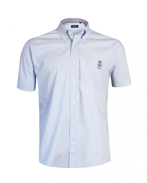 Chemise manches courtes Yianna Otago bleue à motifs homme