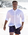 chemise LIN BUENOS AIRES manches longues Otago blanche homme