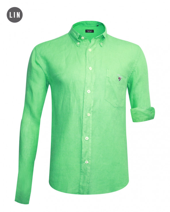 chemise LIN BUENOS AIRES manches longues Otago verte homme