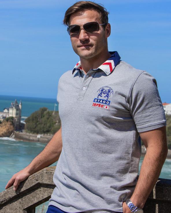 Polo Japan Otago manches courtes gris homme