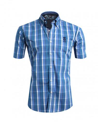 Chemise Tang manches courtes Otago bleu ciel à carreaux homme