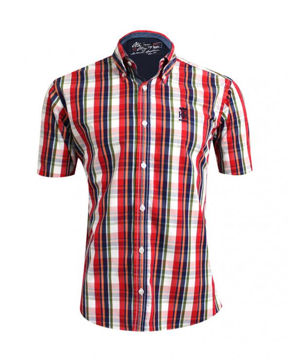 Chemise Tang manches courtes Otago rouge à carreaux homme