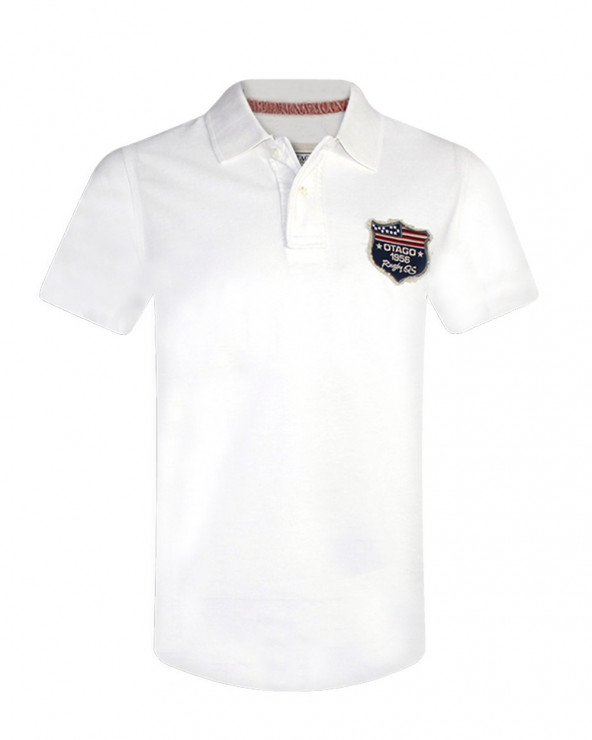 Polo Old-Us manches courtes Otago blanc homme