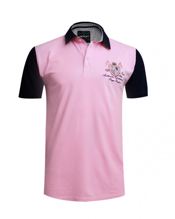 Polo Rob manches courtes rose marine homme
