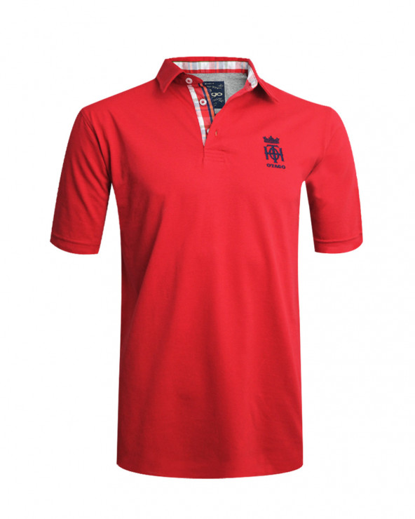 Polo OTH Otago manches courtes rouge homme