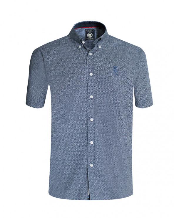 Chemise DALVI manches courtes Otago à motifs bleu denim homme