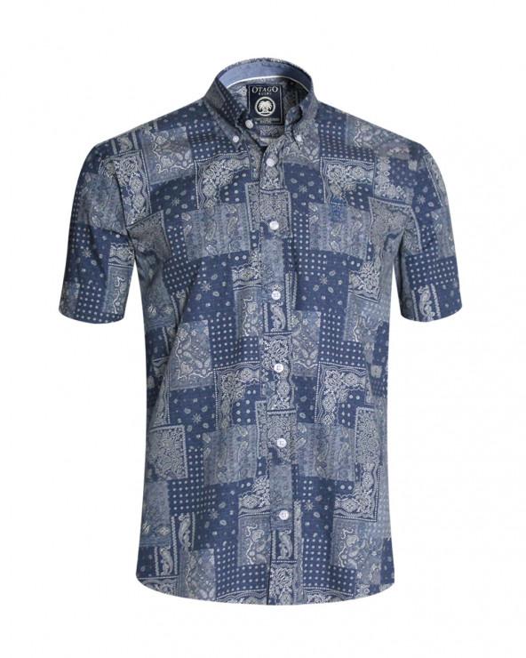 Chemise Patch manches courtes Otago à motifs bleu denim homme
