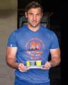 T-shirt Burn's col V Tikinews bleu lavande homme