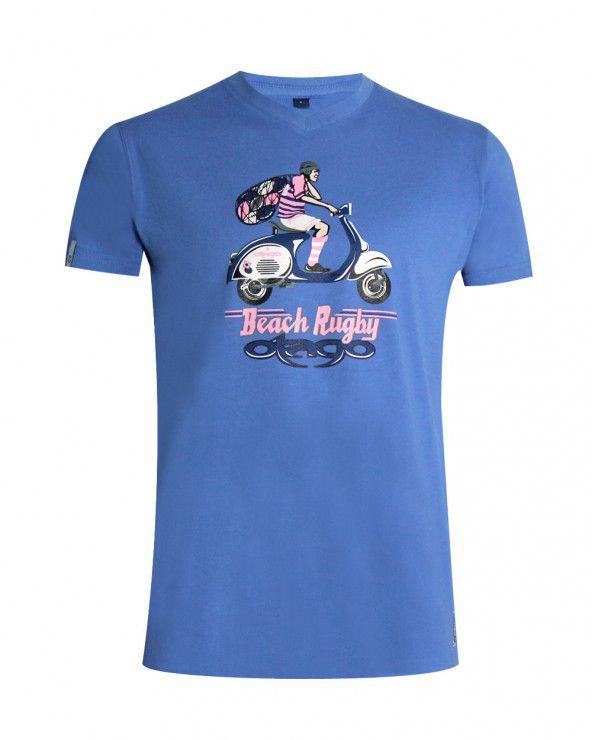 T-shirt col V Vespa bleu lavande Otago homme