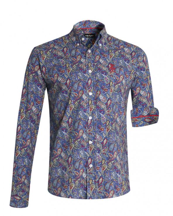Chemise 118 manches longues Otago bleue à motifs pour homme