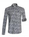 Chemise 116 manches longues Otago rugby bleue à motifs - Homme
