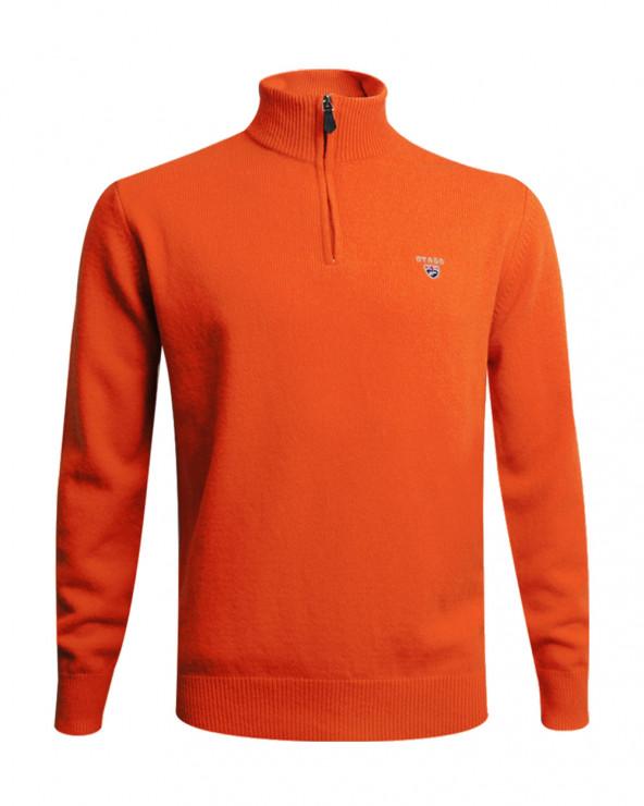 Pull Buenos Aires col zip Otago orange homme