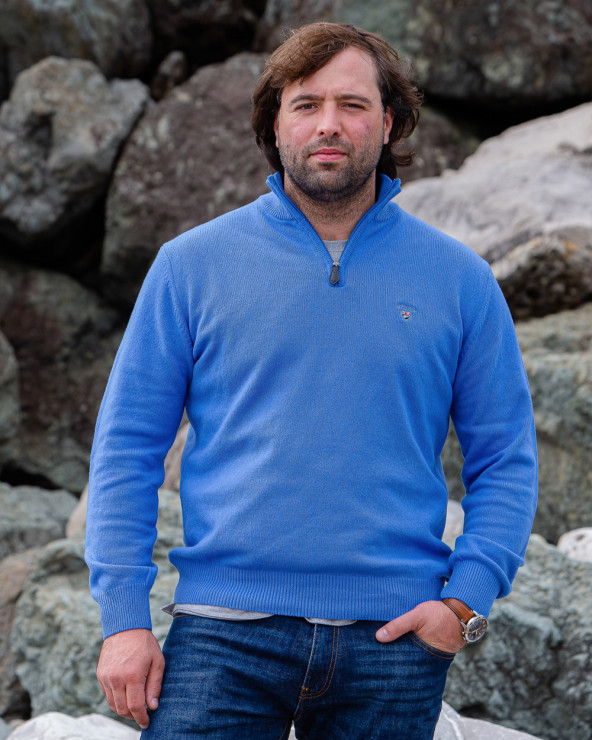 Pull Buenos Aires col zip Otago bleu océan homme