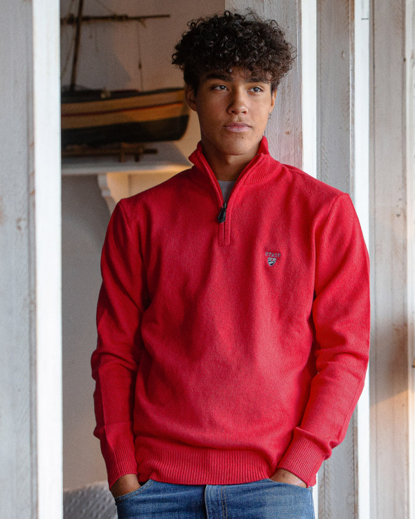 Pull Buenos Aires col zip Otago rouge homme