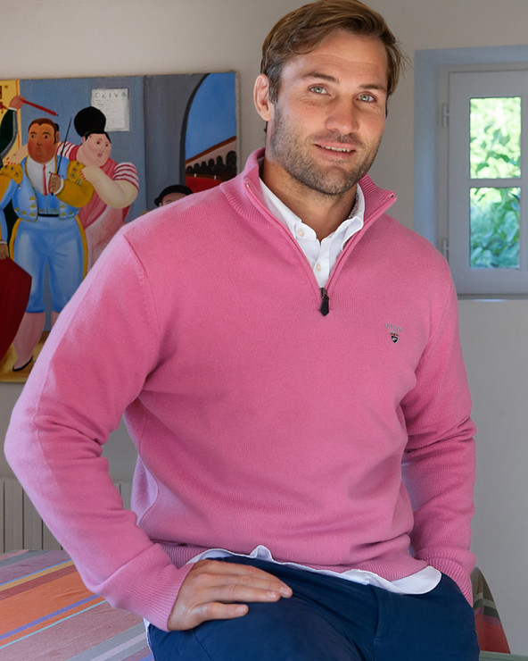 Pull Buenos Aires col zip Otago rose homme