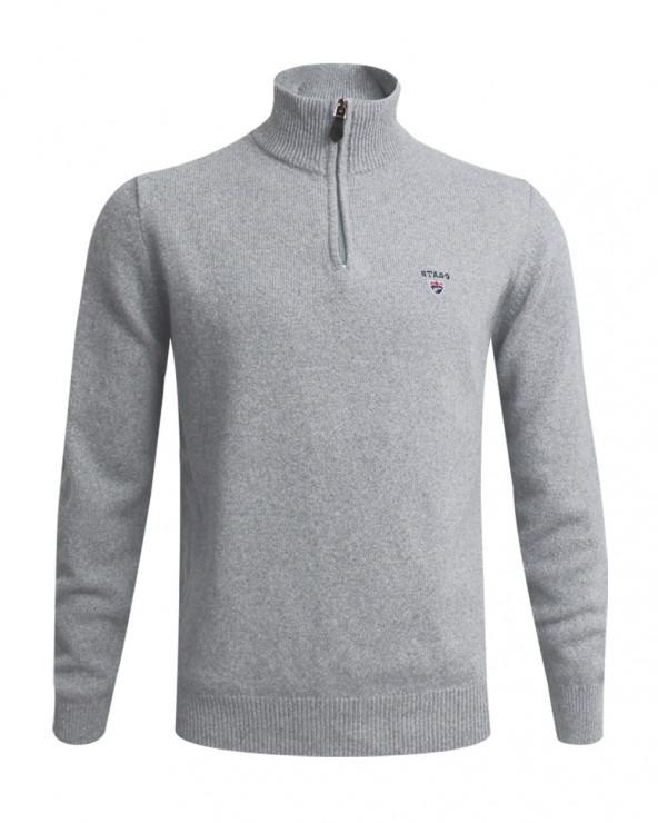 Pull Buenos Aires col zip Otago gris clair homme