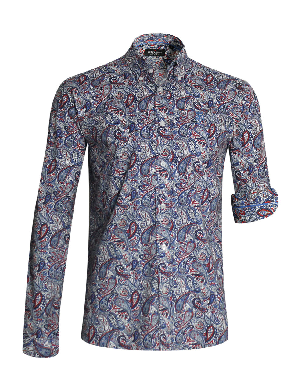 Chemise manches longues 119 Otago rugby à motifs marine rouge homme