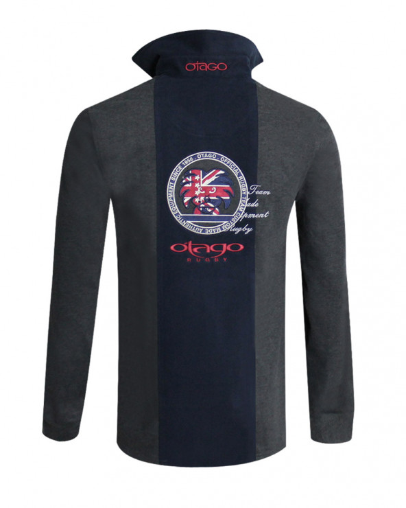 Polo Ben manches longues Otago rugby gris/marine homme