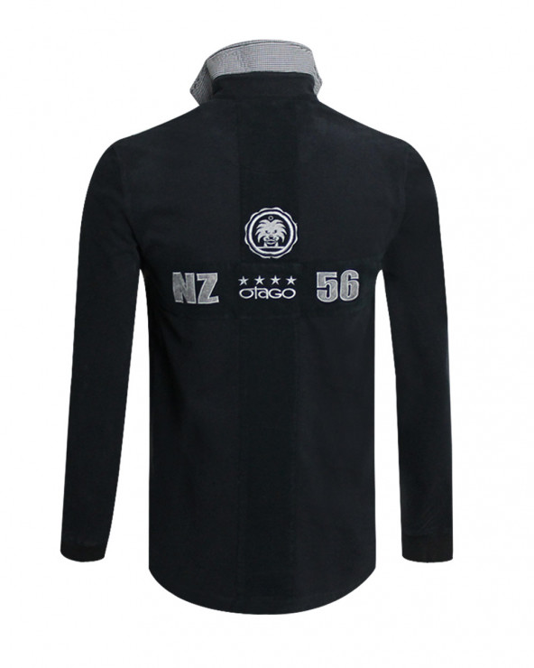 Polo Cross manches longues Otago rugby noir homme