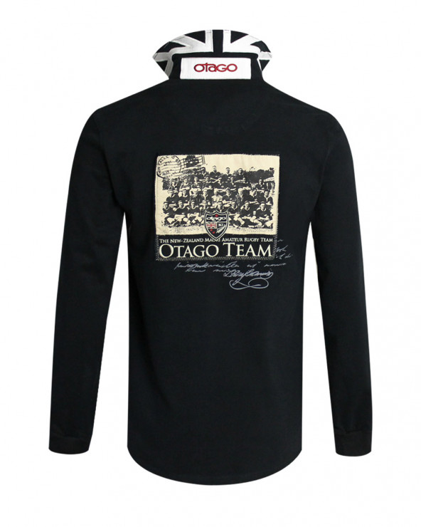 Polo Marco-Team manches longues Otago rugby noir homme
