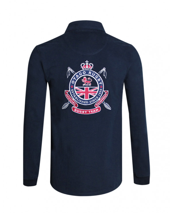 Polo Phil manches longues Otago rugby bleu marine homme