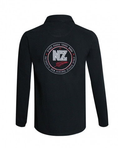 Polo manches longues NEWZED Otago rugby noir Homme