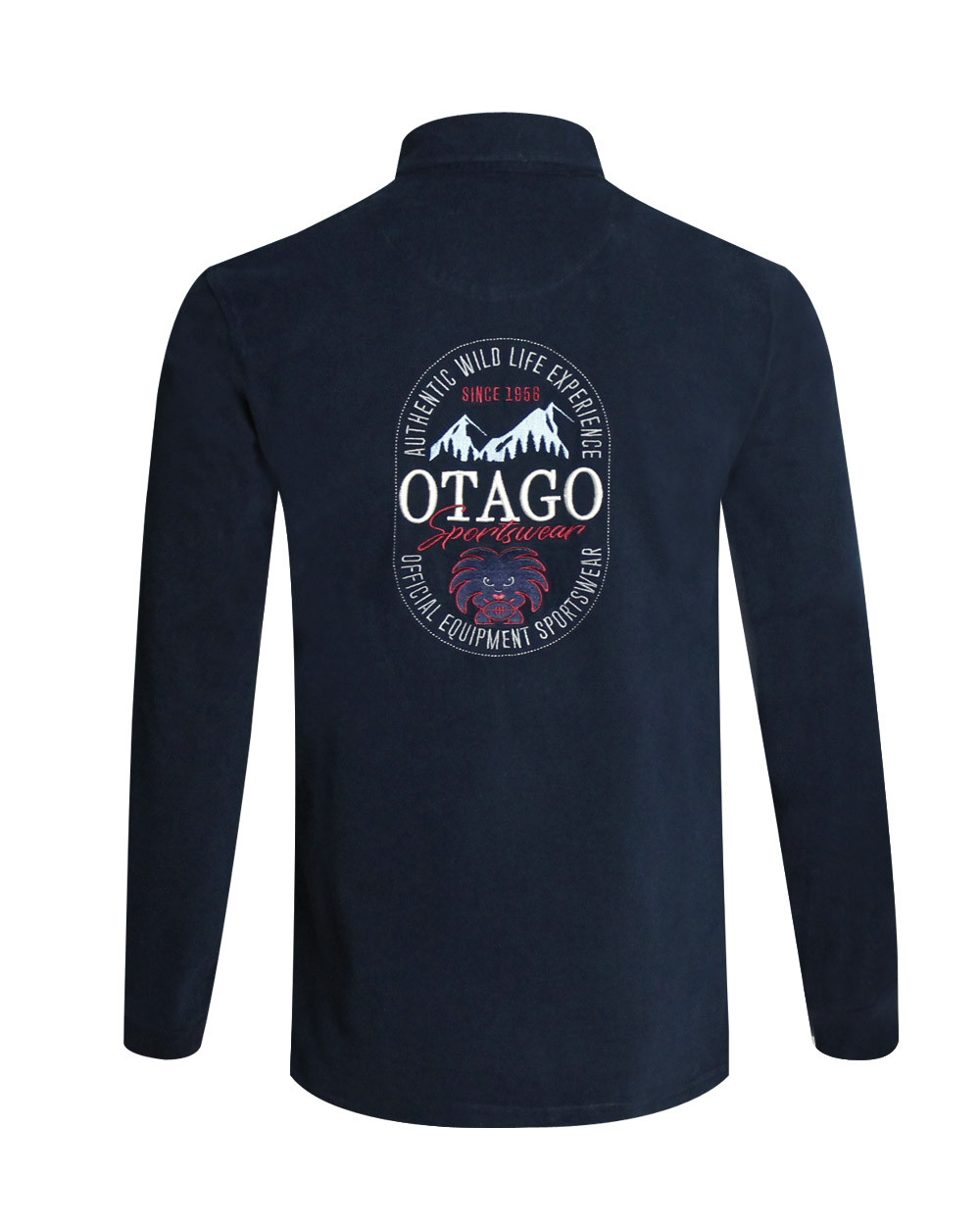 Polo manches longues MONTAIN Otago rugby bleu marine Homme