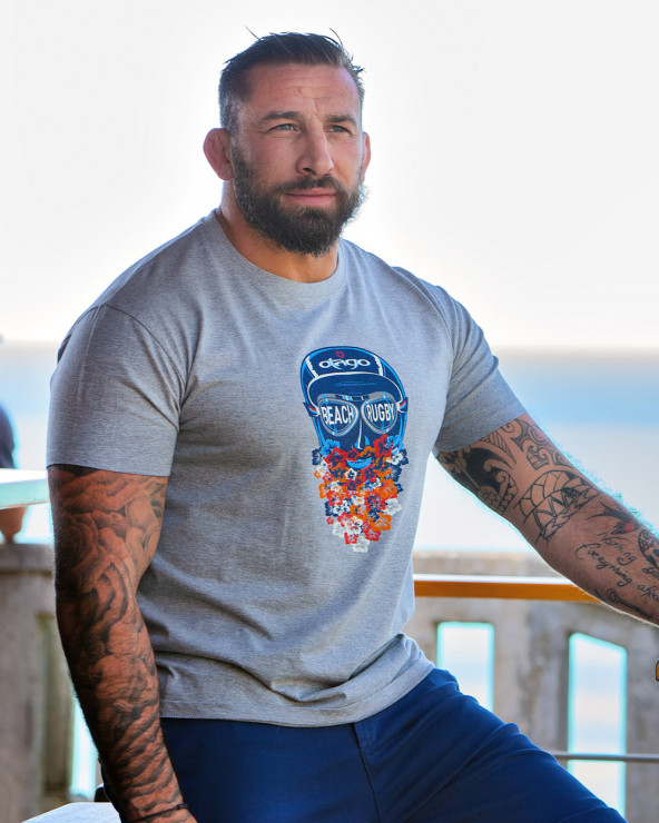 Tee-shirt Caskabarb Otago rugby gris chiné homme