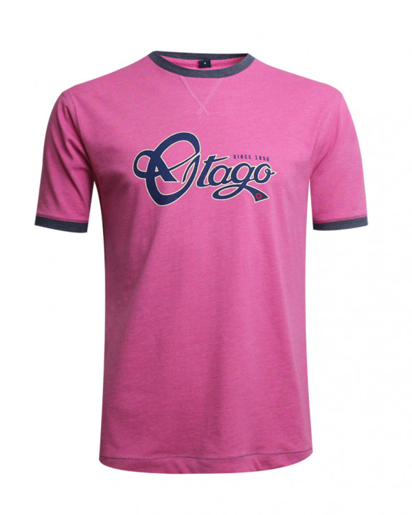 Tee-shirt BECKBY OTAGO rugby col rond rose homme