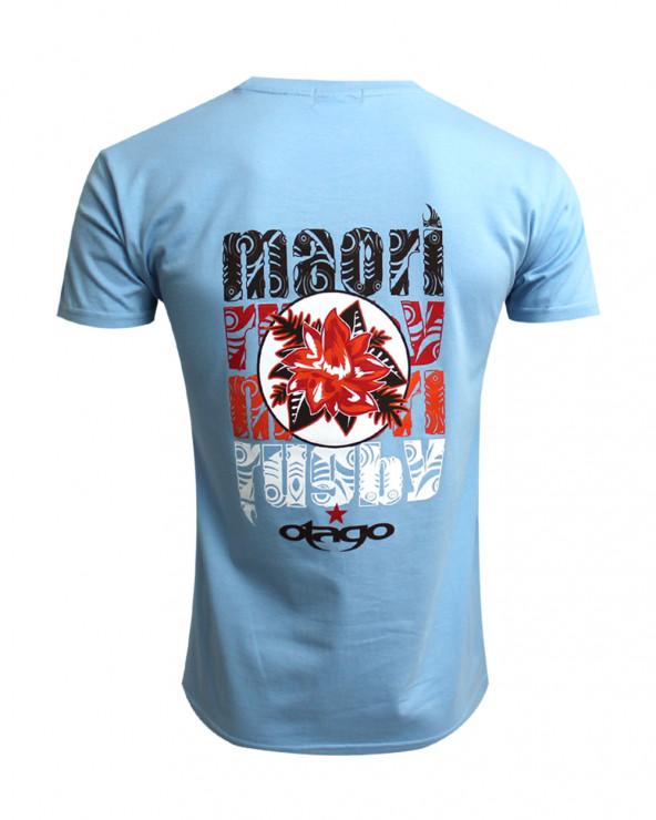T-shirt Flower Otago bleu ciel col rond homme