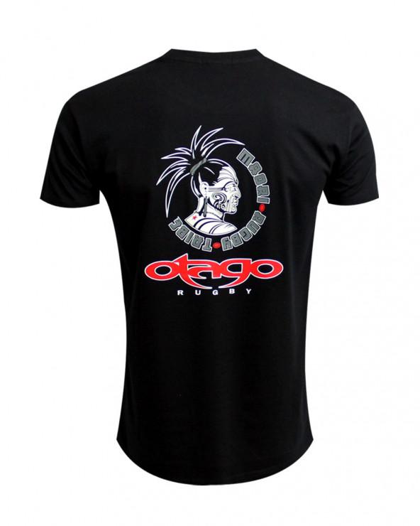 Tee-shirt Taranaki Otago rugby col rond noir homme