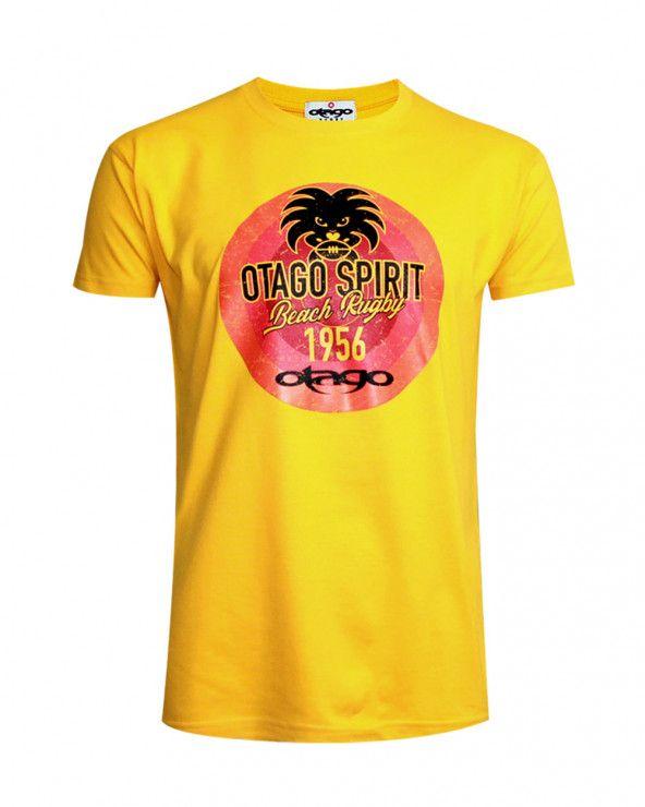 Tee-shirt Tikibeach Otago rugby col rond jaune homme