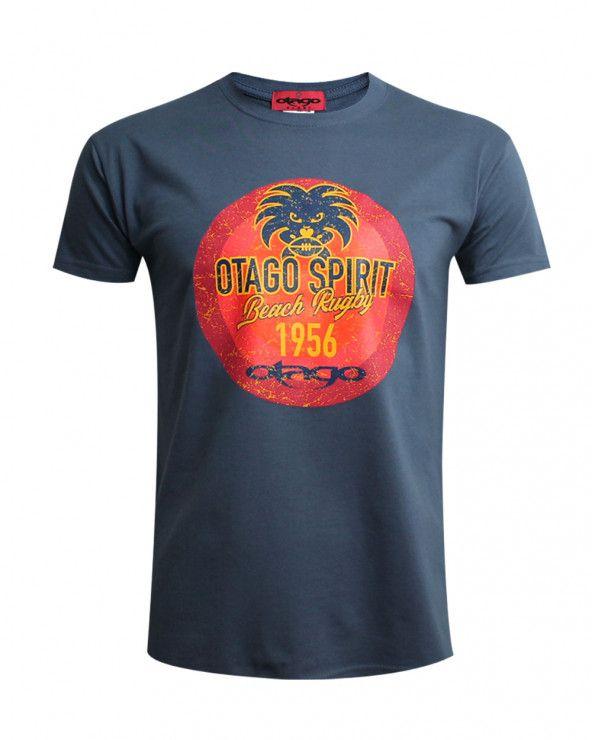 Tee-shirt Tikibeach Otago rugby col rond denim homme