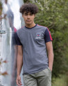 Tee-shirt col V TRITAG Otago rugby gris chiné marine bordeaux Homme