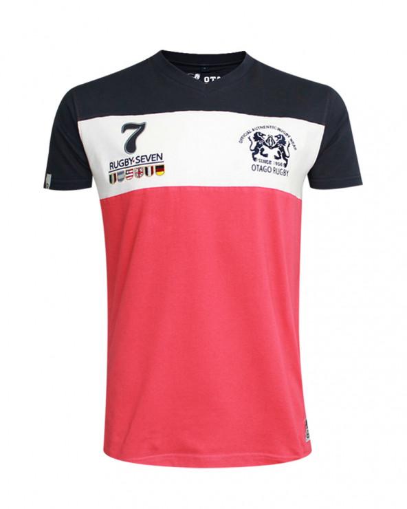 T-shirt Cory col V Otago rugby framboise marine homme