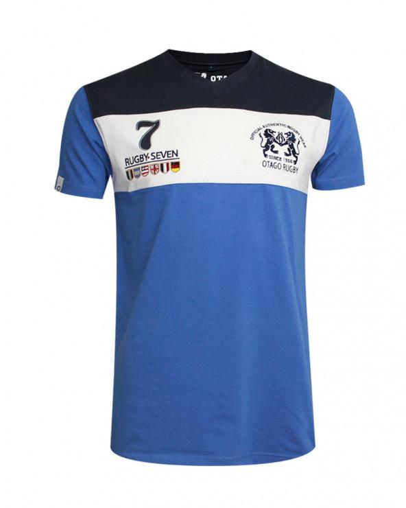 T-shirt Cory col V Otago rugby lavande marine homme