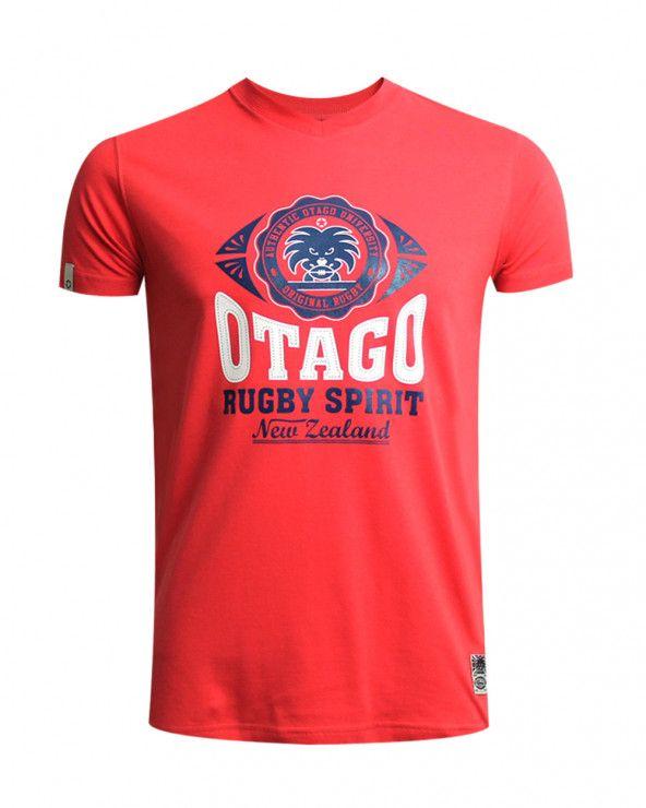 Burns Tshirt Everlandy Otago rugby col V framboise homme