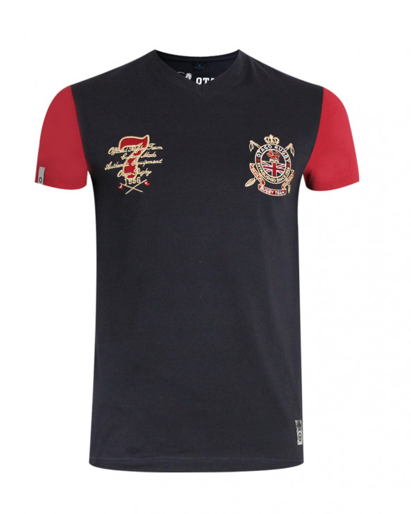 Tee-shirt col V Miller manches courtes Otago rugby marine bordeaux homme
