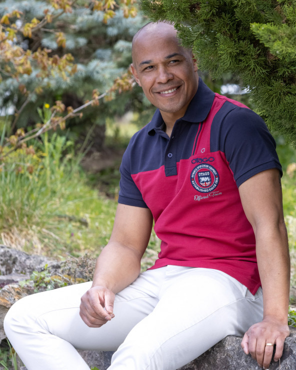 Polo Otabadge manches courtes Otago rugby bordeaux marine